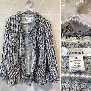 Misook black and white tweed blazer